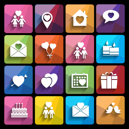 love icons set in flat style