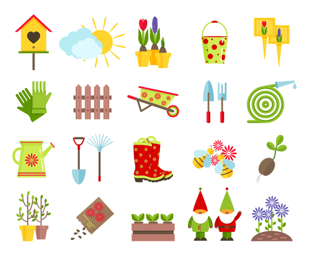 Illustration pour Garden tools and other elements of gardening flat icons set.Garden sculpture gnomes,  nesting box,lawn from flowers and other elements of garden decoration isolated on white background.Cartoon flat icons. - image libre de droit