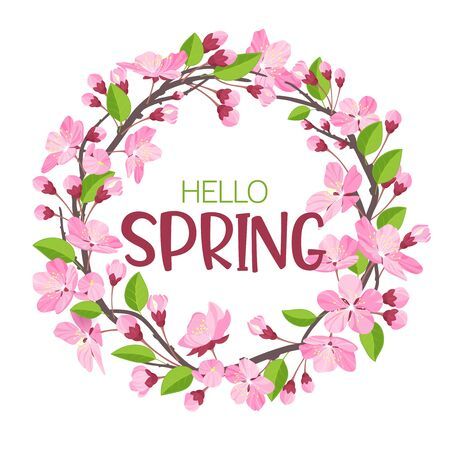 Wreath from spring flowers. Blossoming branches of apple-tree or cherry in form of round frame for the text.