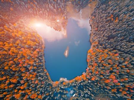 Aerial top view of lake
