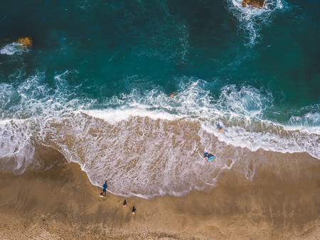 Photo for Aerial View From Flying Drone Of People Relaxing - Royalty Free Image