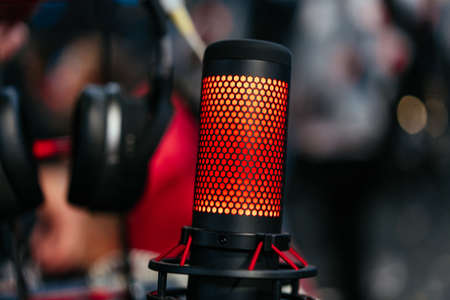 Photo for Professional studio condenser microphone attached to shock mount - Royalty Free Image