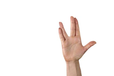 Foto per A man hand doing the Vulcan salute on a white background. Vulcan hand salute against. Spock hand. Alpha. - Immagine Royalty Free