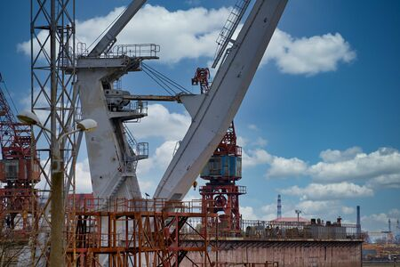 Photo for Close up shot of a crane at a harbour. - Royalty Free Image