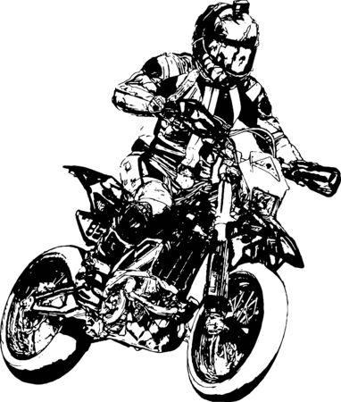 Illustration pour Motorcyclist at sport bike rides by empty asphalt road. sport bike. - image libre de droit