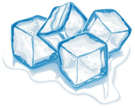 Four blue melting ice cubes in vector