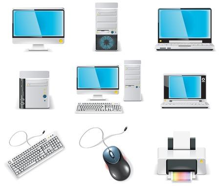 white computer icon set. Part 1. PC