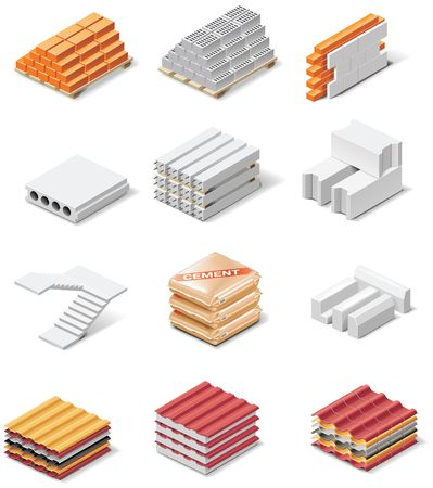 building products icons. Part 1. Concrete elements