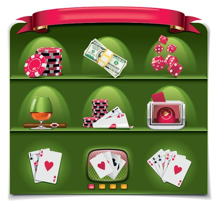 gambling icon set. Part 1 (green background)