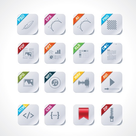 Simple square file labels icon set