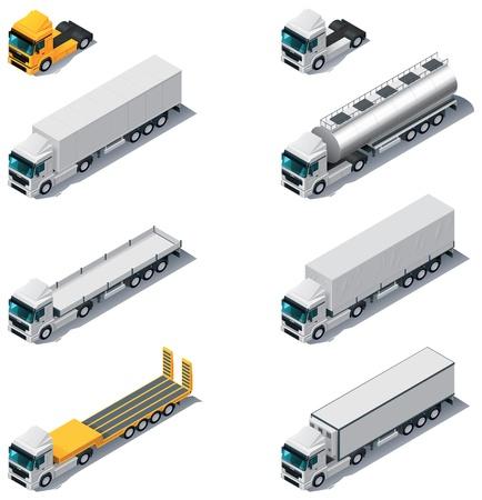 Illustration pour Vector isometric transport  Trucks with semi-trailers - image libre de droit