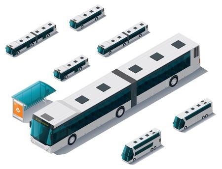 Illustration for isometric bus set - Royalty Free Image