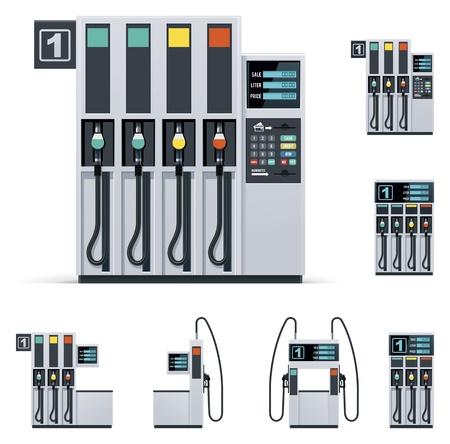 Gas station pumps set