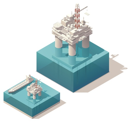isometric oil rig with tank ship illustration