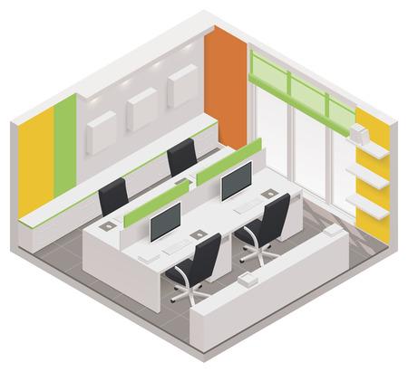 isometric office room icon