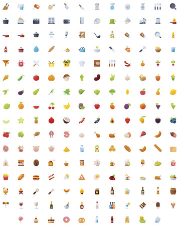 Big food, drinks and cooking icon set