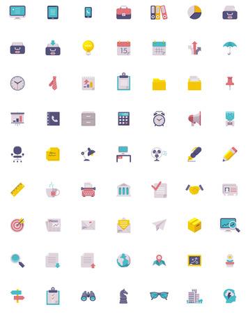 Illustration pour Flat business and office  icon set - image libre de droit