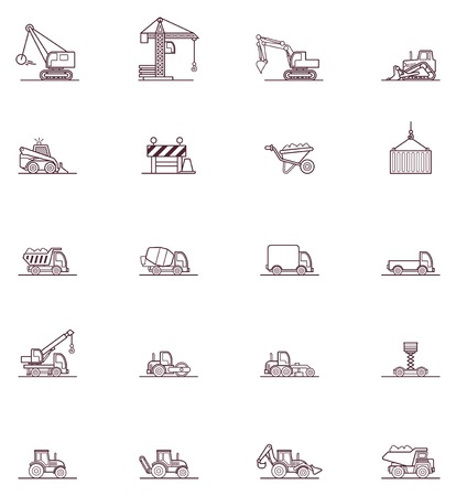Set of the construction machinery related icons