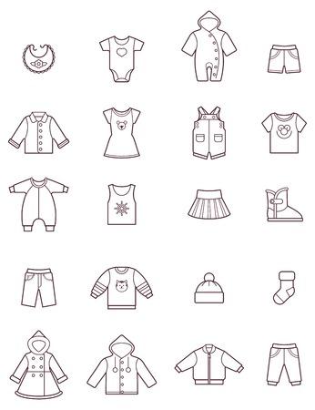 Photo pour Set of the baby clothes icons - image libre de droit
