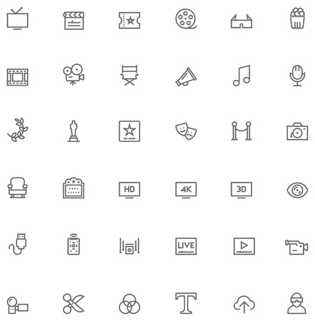 Set of the simple video and cinema related glyphs