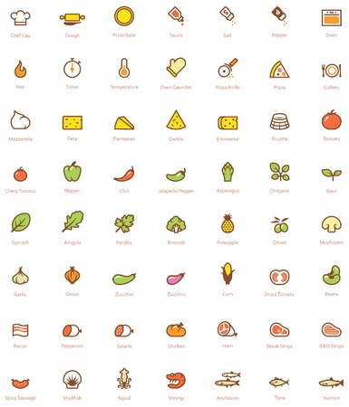 Set of the simple pizza related glyphs