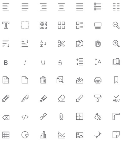 Set of the document editing related glyphs
