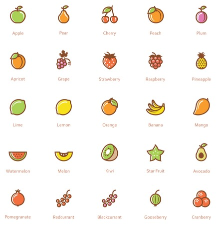 Set of the fruits related icon