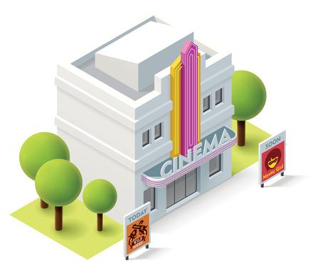 Foto de Vector isometric movie theater building icon - Imagen libre de derechos