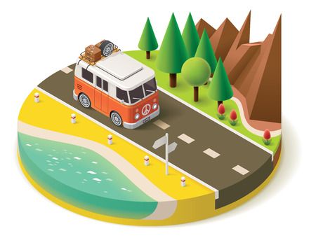 Illustration for Isometric camper van on the road - Royalty Free Image