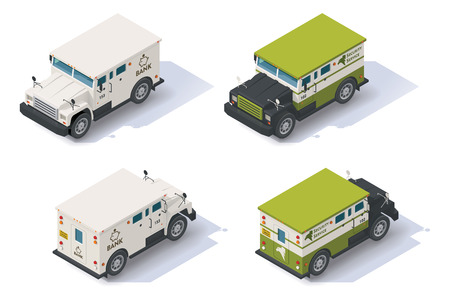 Isometric bank armored truck front end rear view