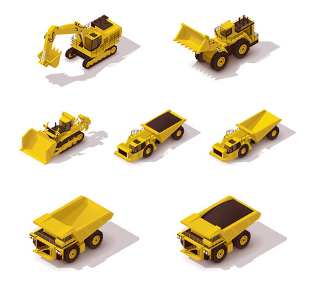 Illustration pour Set of the isometric icons representing mining machinery - image libre de droit