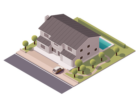 Illustration pour Isometric icon representing house with backyard - image libre de droit