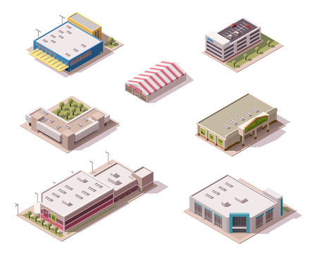 Vector isometric shopping malls and supermarkets buildings set