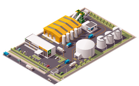 Illustration for Vector isometric waste recycling plant icon - Royalty Free Image