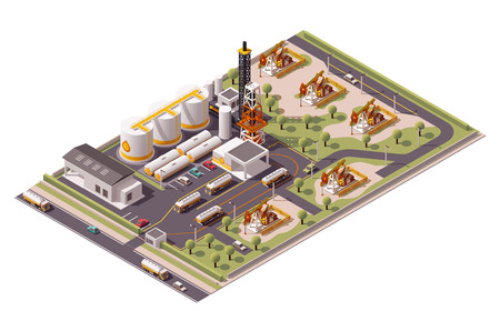 Illustration pour Isometric icon set representing oil field extracting crude oil - image libre de droit
