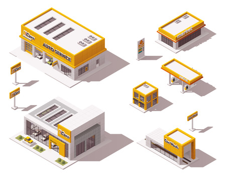 Set of the isometric road transport related buildings