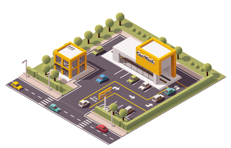 Vector isometric Carwash building icon