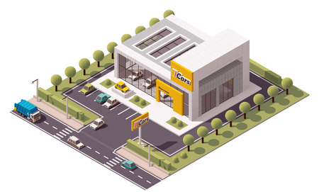 Vector isometric Car Store building icon