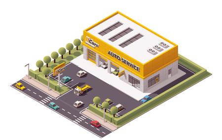 Vector isometric Car Service building icon