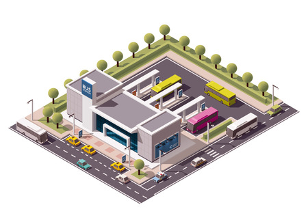 Illustration pour Isometric icon representing bus terminus - image libre de droit