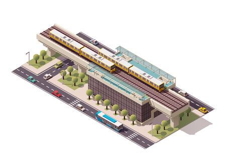 Illustration pour Vector isometric elevated city train station - image libre de droit