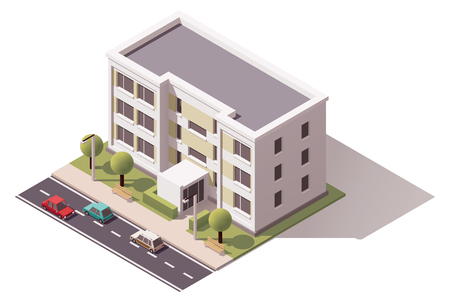 Illustration pour Isometric icon representing city building - image libre de droit
