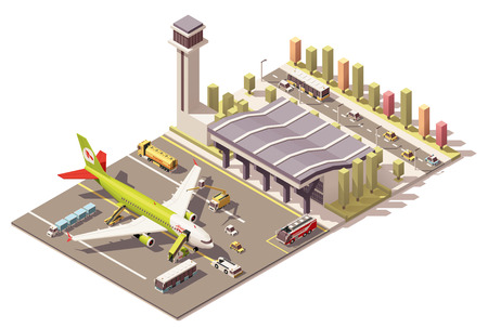 Ilustración de Vector Isometric icon or infographic element representing low poly airport terminal, jet airplane, ground support vehicles, equipment and airport control tower - Imagen libre de derechos