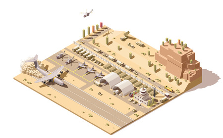 Ilustración de Vector isometric low poly infographic element representing map of military airport or airbase with jet fighters, helicopters, armored vehicles, structures, control tower and cargo airplane landing - Imagen libre de derechos