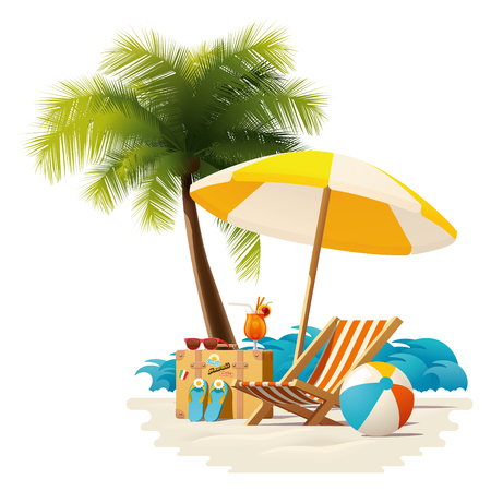 Illustration pour Detailed vector icon representing deck chair, travel suitcase, sun umbrella and cocktail near deck chair on the seaside beach - image libre de droit