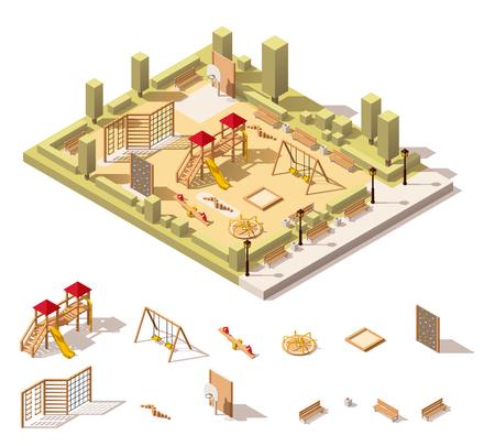 Ilustración de Vector isometric low poly playground and playground equipment - Imagen libre de derechos