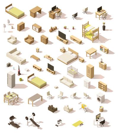 Ilustración de Vector isometric low poly domestic furniture set - Imagen libre de derechos