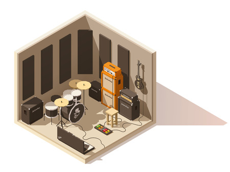 Vector isometric low poly recording studio icon