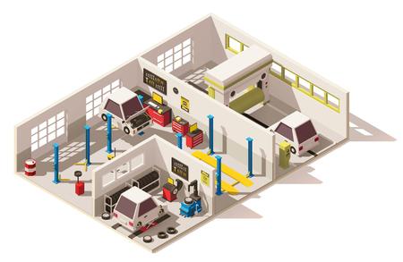Ilustración de Vector isometric low poly car service center - Imagen libre de derechos