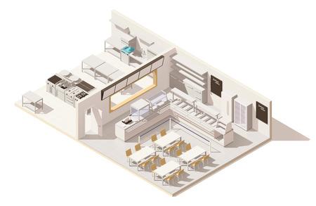 Ilustración de Creative Vector isometric low poly restaurant with kitchen - Imagen libre de derechos